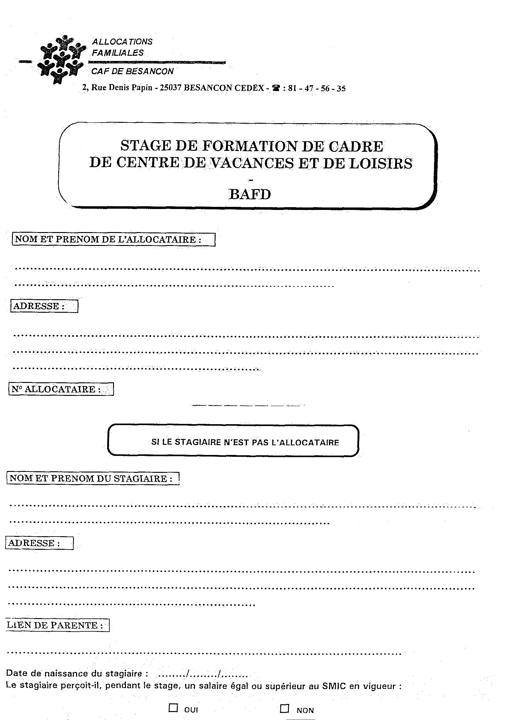 Aide Caf Bafa